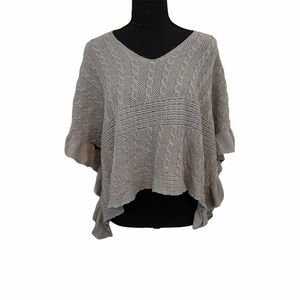Anthro Moth Grey Arched Ripples Poncho S/M